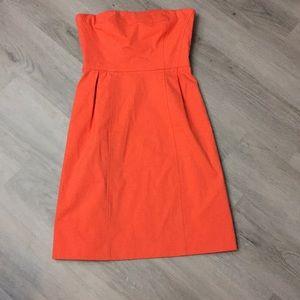 Theory strapless orange dress